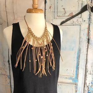 AUTH NEW CHICOS LEATHER TASSEL STATEMENT NECKLACE